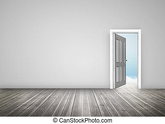 Doorway opening to blue sky in grey room
