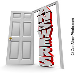 Doorway to Answers - Open Door to Answer Questions - A white...