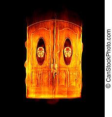 doorway to hell - great image of the door to hell in flames...