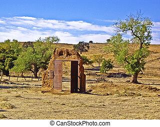Doorway to Nowhere - Doorway left standing alone in desert...