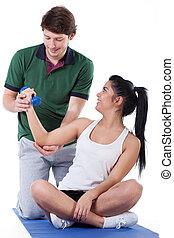 doorwerken, biceps, met, een, trainer