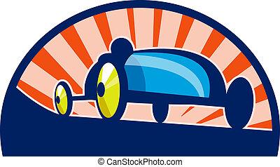 doos auto, achtergrond., zonnestraal, derby, het snelen, ...