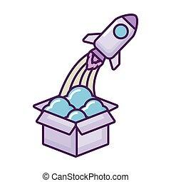 doosje, aanslaan, raket