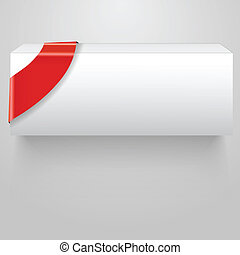 doosje, abstract, vector, rood wit, lint