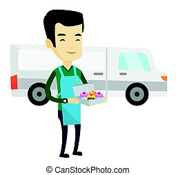 doosje, aflevering, cakes., vasthouden, man