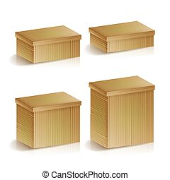 doosje, aflevering, pakket, set, verpakken, illustration., concept., vrijstaand, verpakking, realistisch, pakking, vector, dozen, magazijn, cargo., karton
