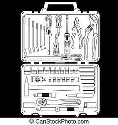doosje, anders, set, gereedschap, vector