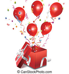 doosje, ballons, open, cadeau, uit