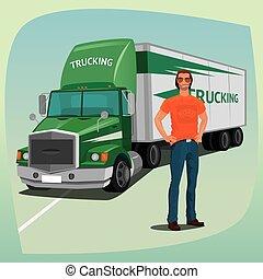 doosje, bestuurder, vrachtwagen, gestroomlijnd, taxi,...
