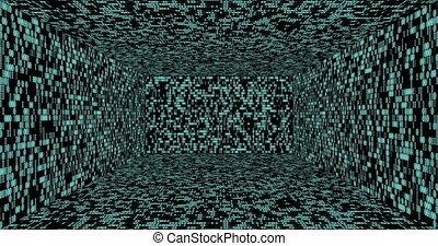 doosje, binaire code, vlucht, gloeiend, door, getallen, achtergrond, black