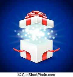 doosje, blauwe , geopend, cadeau, back, vector