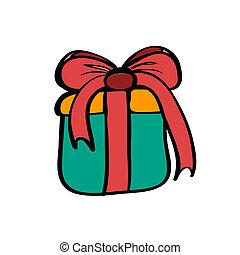 doosje, blauwe , schets, cadeau, kleur, 4