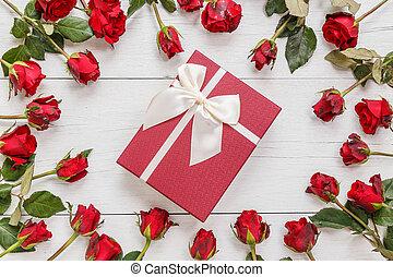 doosje, bloem, cadeau, dek, houten, roos, ruimte, ontwerp, rood, fris, witte , lege