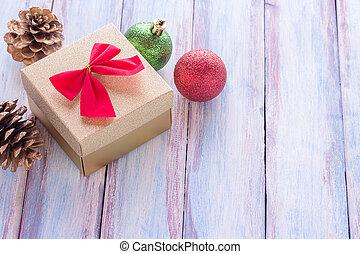 doosje, bruine , de markering van de gift, achtergrond., hout, rood, jaar, nieuw, kerstmis, lint, vrolijke