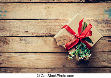 doosje, bruine , de markering van de gift, space., hout, 2019, achtergrond, jaar, nieuw, kopie, vrolijke