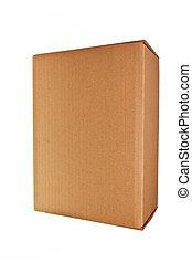 doosje, bruine , op, vrijstaand, achtergrond., witte ,...
