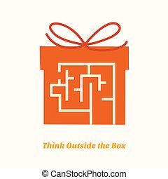 doosje, buiten, denken