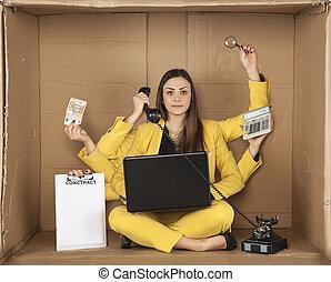 doosje, businesswoman, het zitten, multitasking, kantoor