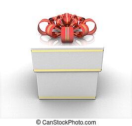 doosje, cadeau, 3d, witte