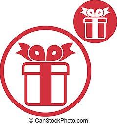 doosje, cadeau, eenvoudig, geïsoleerde kleur, enkel, vector, backg, witte , pictogram