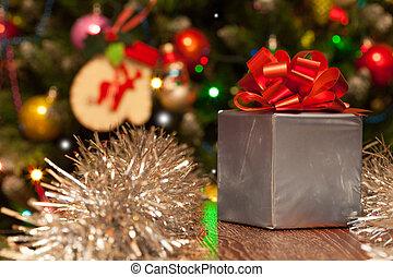 doosje, cadeau, feestelijk, lint, achtergrond, kerstmis, rood
