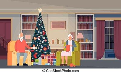 doosje, cadeau, gezin, woning, grote boom, versiering, groene, jaar, interieur, nieuw, spandoek, kerstmis, vrolijke