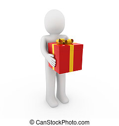 doosje, cadeau, goud, menselijk, rood, 3d
