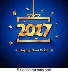 doosje, cadeau, groet, stars.happy, jaar, nieuw, 2017, kaart