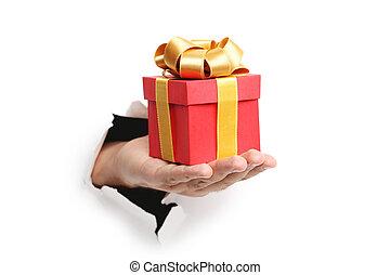 doosje, cadeau, hand, papier, door, het stompen, mannelijke