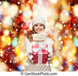 doosje, cadeau, handschoenen, hoedje, muffler, meisje
