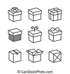 doosje, cadeau, iconen, kadootjes, vector, vakantie