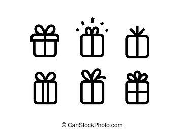 doosje, cadeau, iconen, vrijstaand, verzameling, witte , vector