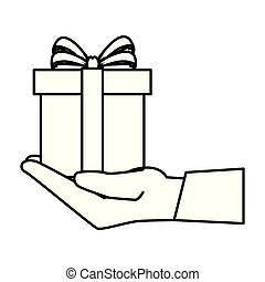 doosje, cadeau, kado, hand