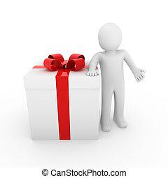 doosje, cadeau, menselijk, wit rood, 3d