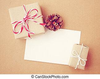 doosje, cadeau, met de hand gemaakt, dennenboom, merk papier...