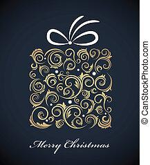doosje, cadeau, ouderwetse , retro, versieringen, kerstmis
