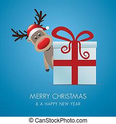 doosje, cadeau, rendier, rood, kerstmis, lint