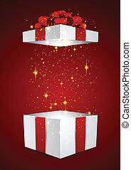 doosje, cadeau, rood, bow.