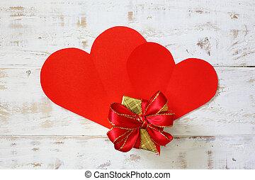 doosje, cadeau, ruimte, ouderwetse , papier, hout, achtergrond, hartjes, witte , kopie, rood