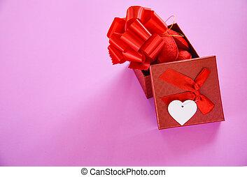 doosje, cadeau, straatfeest, valentines, minnaar, verrassing, open, dag, rood