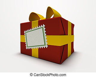 doosje, cadeau, vrijstaand, achtergrond, wit rood