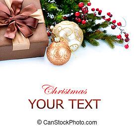 doosje, cadeau, vrijstaand, versiering, witte kerst