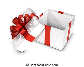 doosje, cadeau, witte , open, rood, 3d