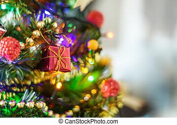 doosje, concept, cadeau, verdoezelen, boompje, achtergrond, jaar, nieuw, kerstmis, rood, vrolijke