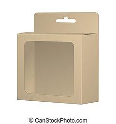 doosje, container, product, mockup, slot., hangen, verpakken, verpakking, realistisch, venster, vector, gerecyclde, leeg, template., kaart