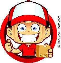 doosje, courier, het opgeven, aflevering, vorm, duimen, vasthouden, cirkel, man