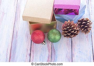 doosje, de markering van de gift, achtergrond., hout, rood, jaar, nieuw, kerstmis, lint, vrolijke