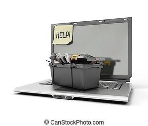doosje, draagbare computer, gereedschap