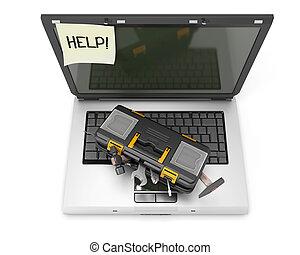 doosje, draagbare computer, gereedschap, sticker