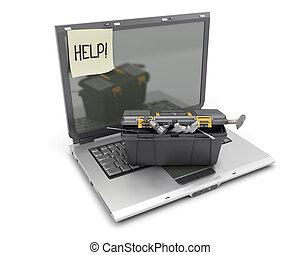 doosje, draagbare computer, gereedschap, witte